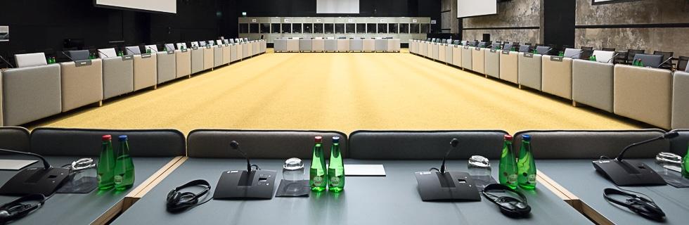 Tulkkausjärjestelmä Tallinnassa Viron EU-puheenjohtajuuden aikaan 2017.